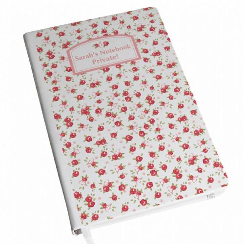 Personalised Vintage Floral Hardback A5 Notebook